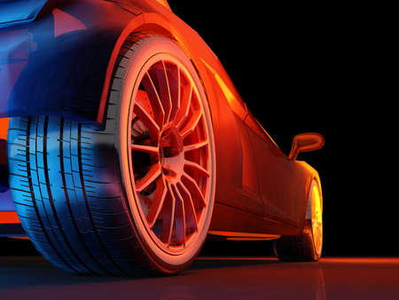 Racing cars on a black background.  3d render