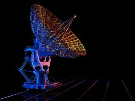 Space radar on a black background., 3d render