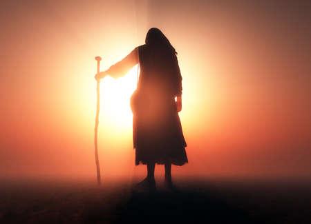 Jesus in the desert, 3d render