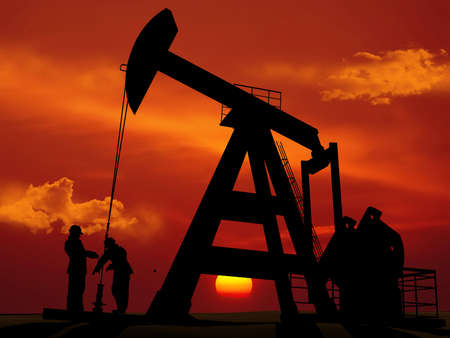 Workers produce oil., 3d render