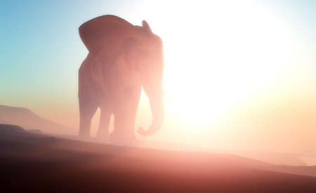 Elephant on the river on the planet . 3d render