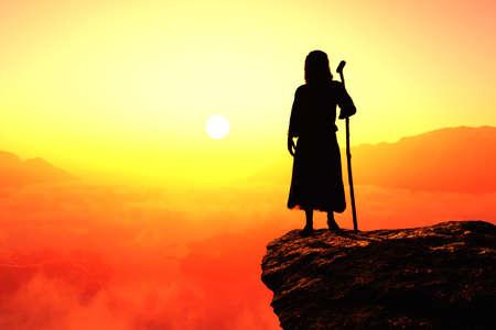 Jesus in the desert., 3d render