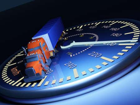 Truck on the speedometer..3d render