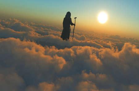 The image of Jesus against the background of clouds., 3d render Reklamní fotografie
