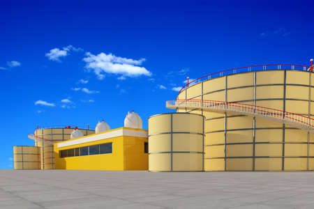 Chemical plant on the background of the sky .., 3d render Banque d'images