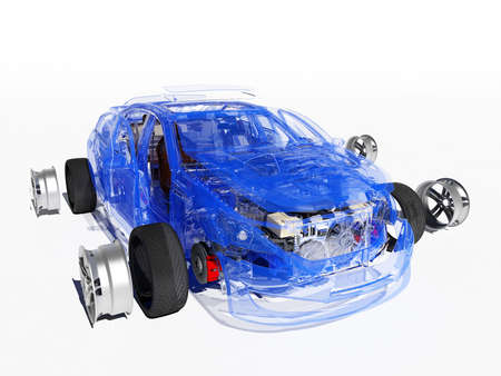 Disassembled car on a white background., 3d render