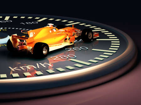 Sports car on the speedometer..3d render