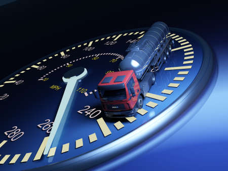 Truck on the speedometer..3d render