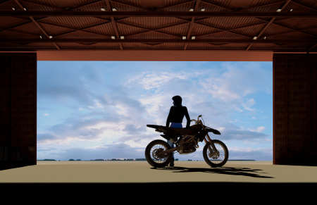 Silhouette of a girl on a motorcycle in the garage., 3d render