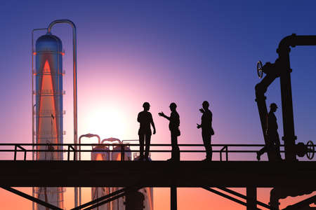Silhouettes of workers at the factory., 3d render