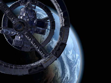 The space ship on the background of the planet., 3D render. Banque d'images