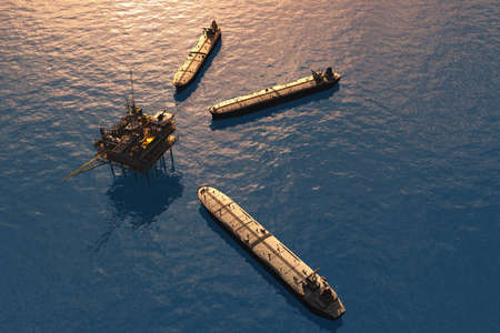 Oil production into the sea from above. 3d render Banque d'images