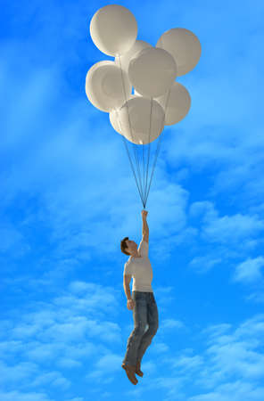 A man is flying on balloons., 3d render Banque d'images
