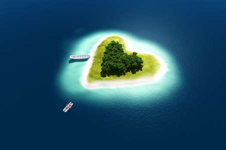 Island in the sea .., 3d render Banque d'images