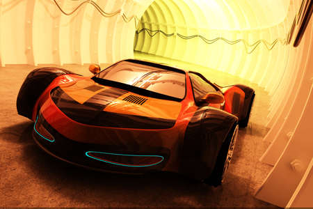 Sports car in the tunnel. 3d render