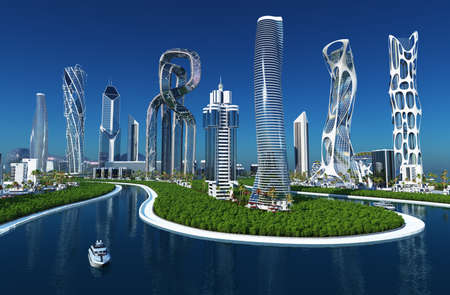 Beautiful futuristic city.3d render