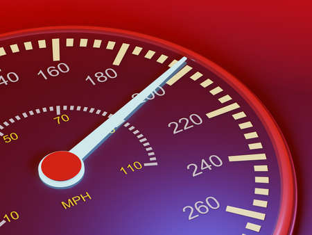 Speedometer of the car on a black background..3d render Banque d'images