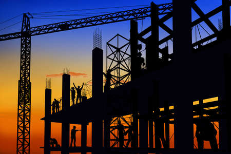 Silhouette of the workers on a background of the sky, 3d render Banque d'images