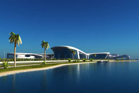 Fentazi building on the background of a tropical landscape. , 3d render Banque d'images