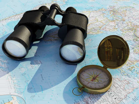 Binoculars on the world map., 3d render