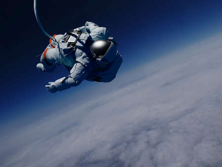 Astronaut in space above the clouds of the Earth.3d render Banque d'images