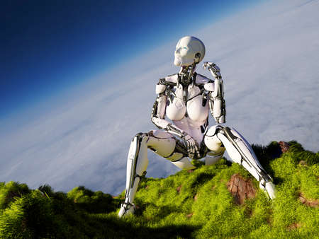 Robot on the grass. 3d render