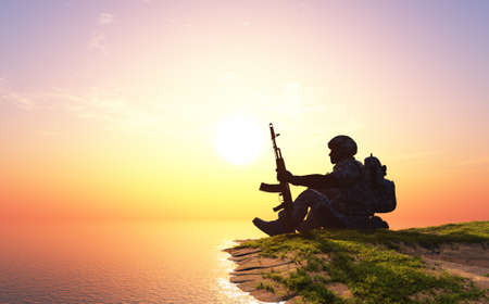 Silhouette of a soldier on the shore. 3d render