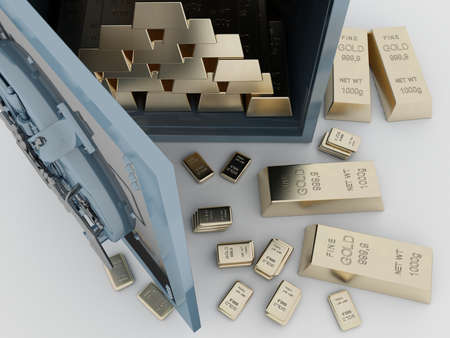 Gold bars in the safe. 3d render