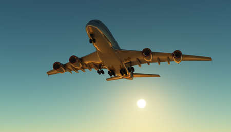 A passenger plane in the sky, 3d render