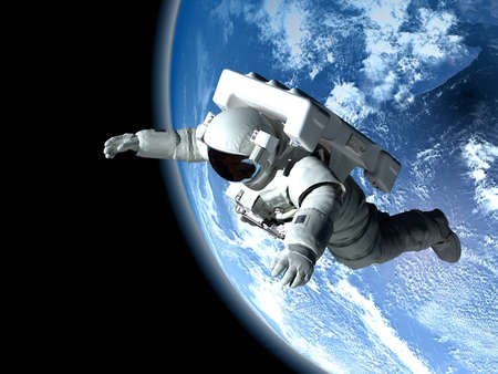 """The astronaut on a background of a planet """"Elemen ts of this image furnished by NASA"""", 3d render"""