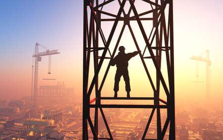 Silhouette of a worker on a background sky.3d render Zdjęcie Seryjne