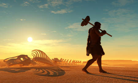 Primitive man and dinosaur skeleton .. 3D rendering