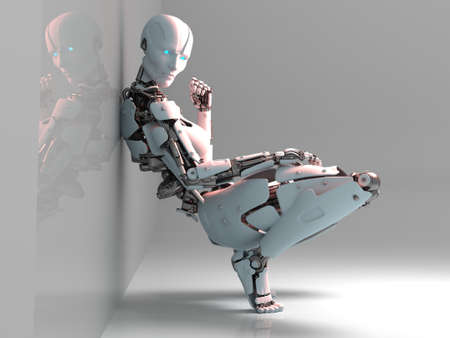 Cyborg woman in a sexy pose., 3d render