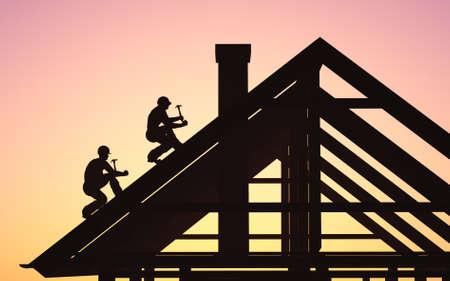 A man builds a house with a hammer., 3d render Zdjęcie Seryjne