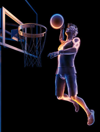 Silhouette of basketball on a black background. , 3d render