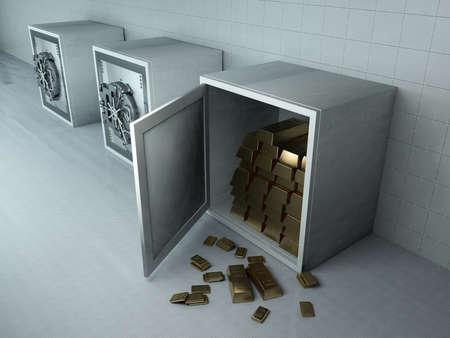 Gold bars in the safe. , 3d render Zdjęcie Seryjne