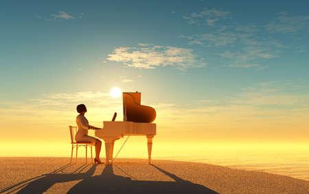 Woman playing the piano., 3d render Zdjęcie Seryjne