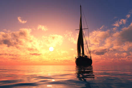 Yacht in the sea at sunset, 3d render