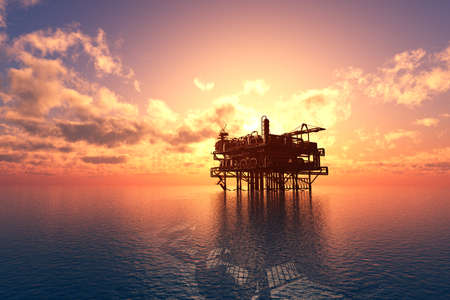 Oil production into the sea from above. 3d render Zdjęcie Seryjne