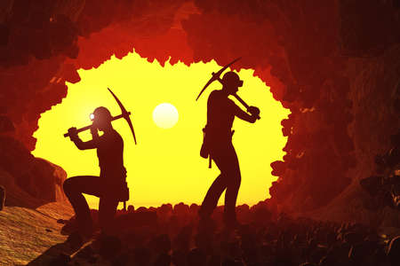 Silhouettes of workers in the mine., 3d render