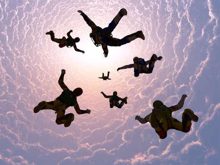 The group of athletes paratroopers.3d render Zdjęcie Seryjne
