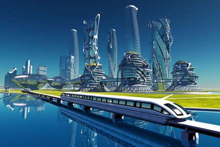 Train on the background of the modern city. .3d render Zdjęcie Seryjne