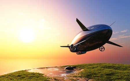 Modern airship over the green grass. , 3d render Zdjęcie Seryjne