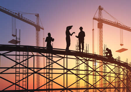 Builders at the construction site., 3d render