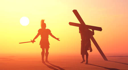 Jesus carries the cross at sunset., 3d render