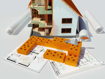 Model house on white background.3D rendering Zdjęcie Seryjne