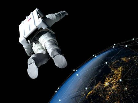 Astronaut flying over the planet. 3d render Zdjęcie Seryjne