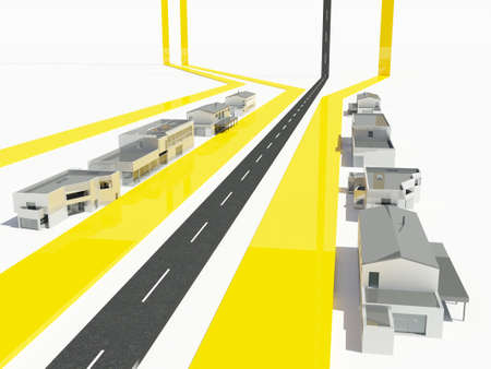 Model and city and roads on a white background. , 3d render