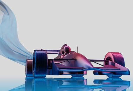 Racing cars on a white background. , 3d render Zdjęcie Seryjne