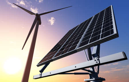 Of wind generators and solar panels on the sky., 3d render